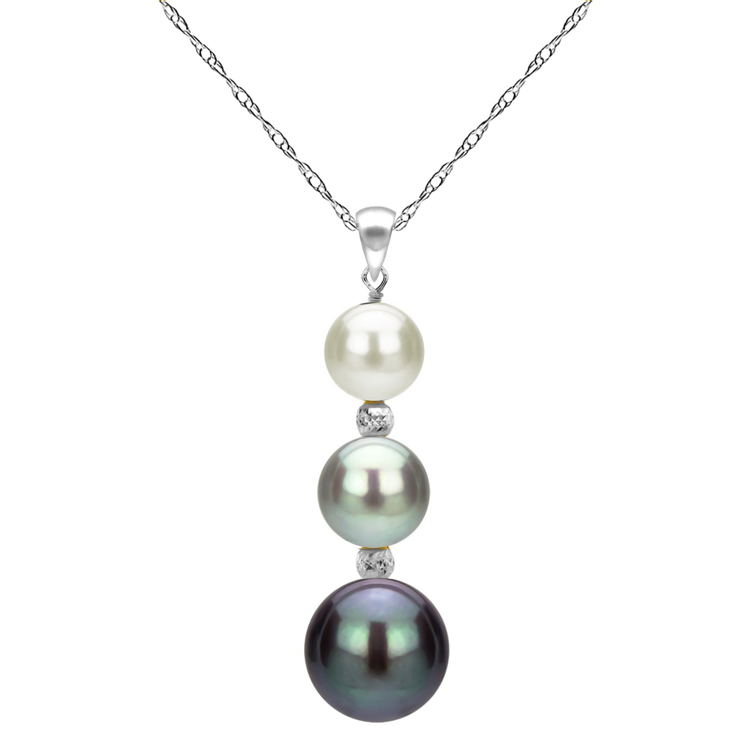 14k White Gold Graduated 5-9.5mm Multi-colors Freshwater Cultured Pearl Pendant Necklace, 18''