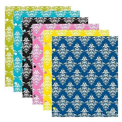 4 Pk. BAZIC Laminated Bright Glossy Damask Colored 2-Pockets Portfolios with 3 punched holes