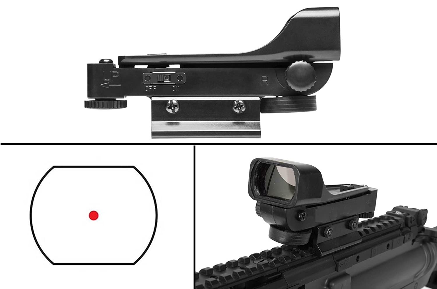 Ultimate Arms Gear Polymer Reticle Red Dot Open Tubeless Reflex Scope Sight Weaver-Picatinny & Dovetail Mount Adapter Rail, Black for Black Ops Tactical Sniper Air Rifle