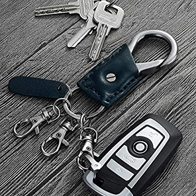 WIACO Carabiner Car Key Chain for Men and Women, Genuine Leather Car Keychains Heavy Duty Handmade Key Ring Accessories with Easy Clasp Key - Royal Blue: Automotive