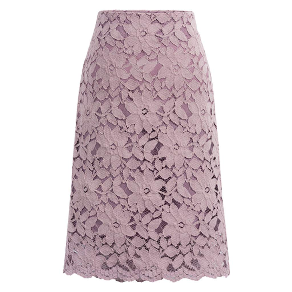 Women Lace Vintage High Waisted Pleated Midi Skirts Plus Size Knee Length Hollow Out A-Line Bodycon Mid Skirt (L, Purple)