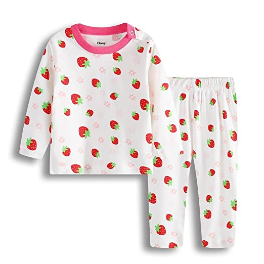 Hooyi Baby Girl Strawberry Cotton Pijamas Suit (3-6month)