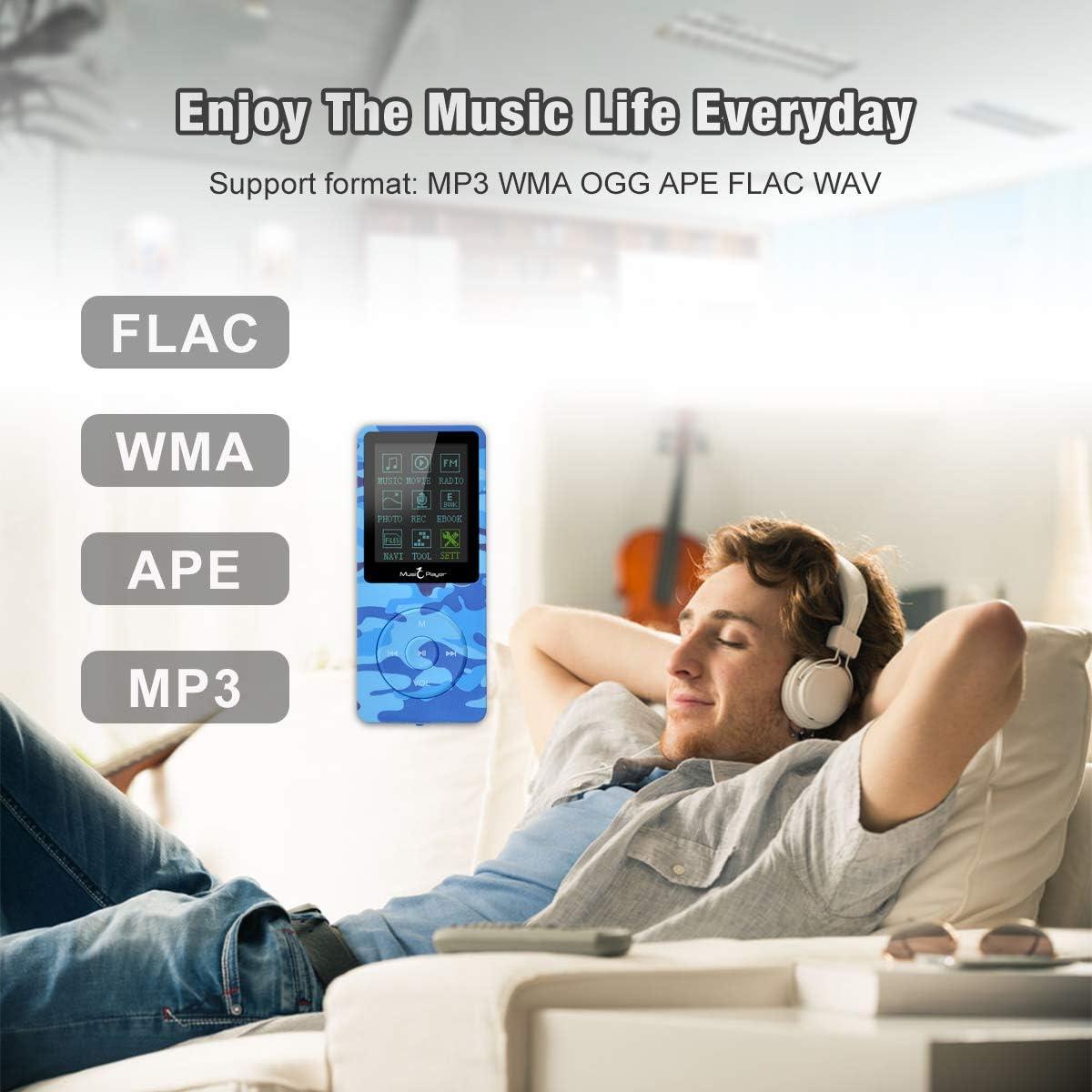 Camuflaje Verde soporta hasta 64 GB Lychee Reproductor MP3 70 Horas de Reproducci/ón de M/úsica MP3 sin P/érdida de Sonido Hi-Fi Entrada 8 GB de M/úsica MP4