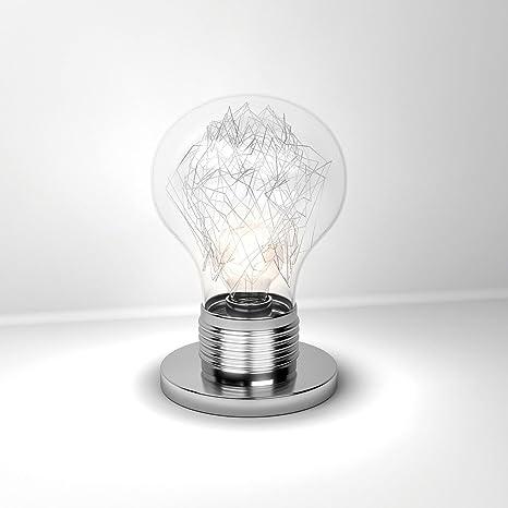 Lámpara de Mesa LAMPA Lumetto forma Bombillas Cristal Transparente, Acero Cromado Pantalla Para Lámpara Mesa de Noche: Amazon.es: Iluminación