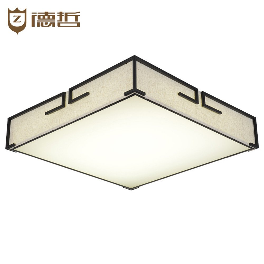 BRIGHTLLT Eine neue moderne chinesische Quadrat Wohnzimmer Deckenlampe minimalistischen antike Bügeleisen Tuch bedeckt, 550-mm-LED-Lampe