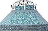 Bedspread with Hand Printed Folk - Color Teal Color