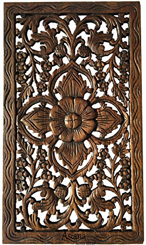 Asian Home Decor Wood Carved Panel. Teak Wood Wall Hanging in Dark Brown Finish Size 24