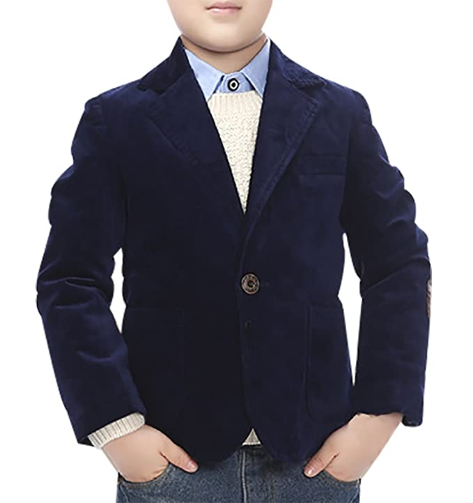 JiaYou Child Kid Boy Button Casual Blazer Jacket(Blue,Height 47-51 Inches)