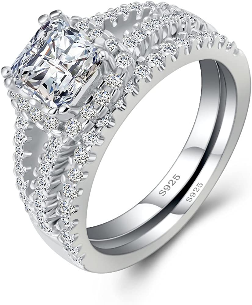 ANGG Vintage Bridal Set Princess White CZ 925 Sterling Silver Wedding Engagement Bridal Ring Set