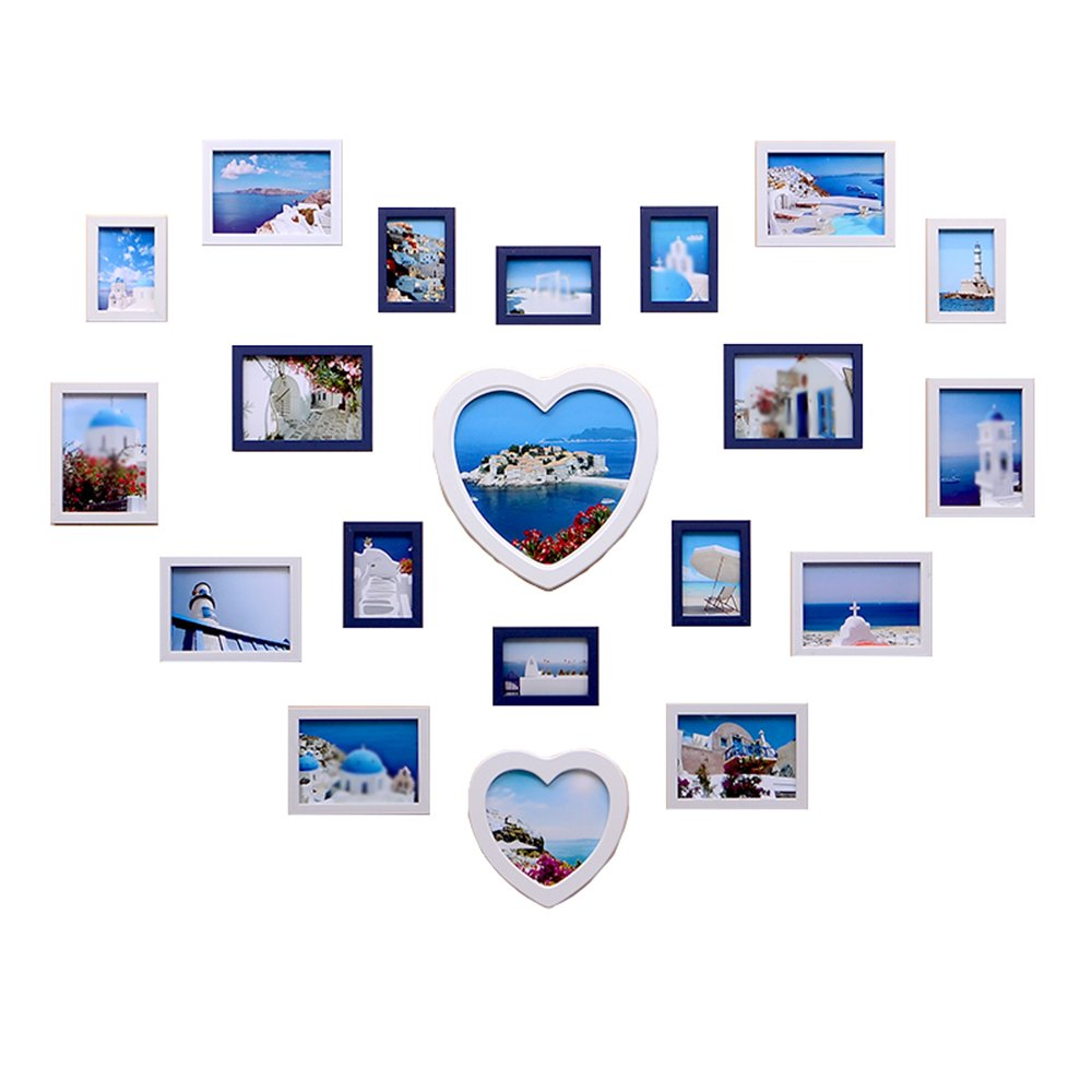 Living room photo wall / love heart-shaped modern children's bedroom photo wall / frame wall combination 20 box 138 103cm ( Color : White blue combination )