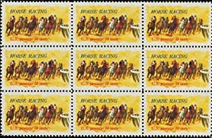 HORSE RACING ~ KENTUCKY DERBY #1528 Block of 9 x 10 cents US Postage Stamps