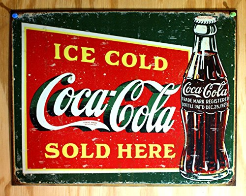 Coke - Ice Cold Green Tin Sign 16 x 13in (Green Tin Sign)