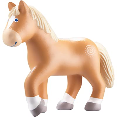 "HABA Little Friends Horse Leopold - 4.5"" Brown Haflinger Steed Chunky Plastic Toy Farm Animal Figure: Toys & Games"
