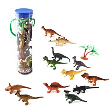 Ukainiemai 12pcs pequeños Juguetes de Dinosaurios con 1pcs ...