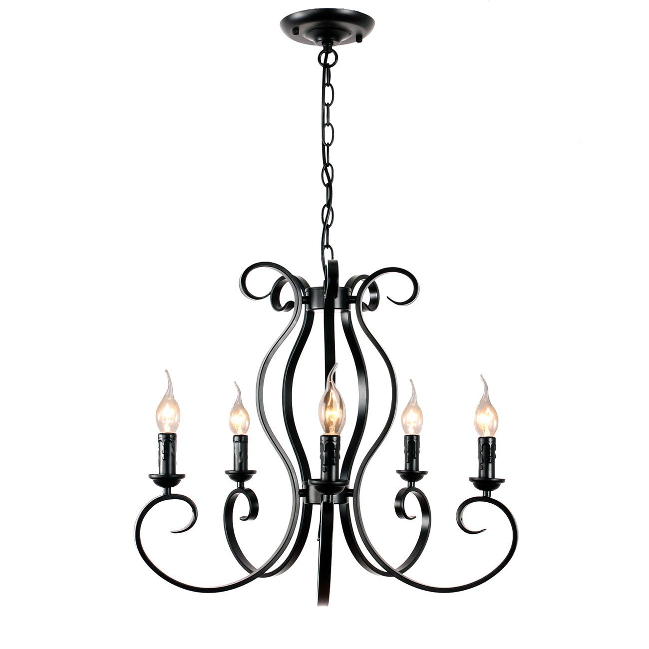 Unitary Brand Vintage Black Metal Candle Chandelier with 5 E12 Bulb Sockets 200W Painted Finish