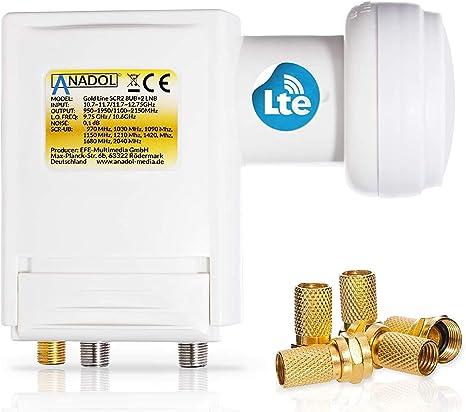 Anadol Premium Unicable LNB unicable 8 para satélite + 2 Legacy 40 mm para HD HDTV – blindado LTE – para 10 participantes – 0,1 dB de ruido 2 SCR 2 – ...