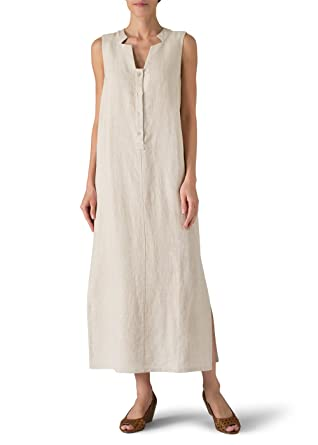 3c4146b1356 Vivid Linen Sleeveless Slip-on Dress at Amazon Women s Clothing store