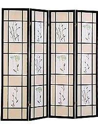 coaster oriental floral accented 4panel room screen divider black wood framed
