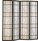 4-Panel Folding Screen with Floral Motif Multi-color