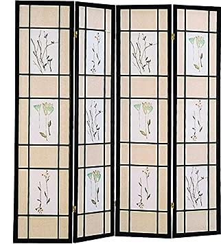 Coaster Oriental Floral Accented 4 Panel Room Screen Divider Black Wood Framed