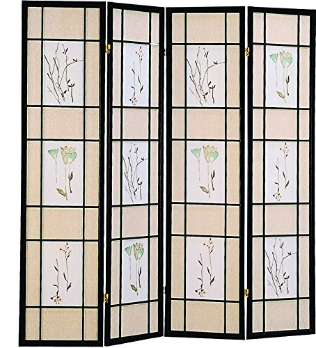 - 4-Panel Folding Screen with Floral Motif Multi-color
