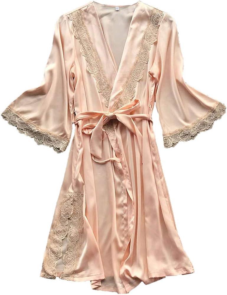 Gift Women Nightwear Satin Kimono Sleepwear Lingerie Dress Gown Robe Lace Sizes