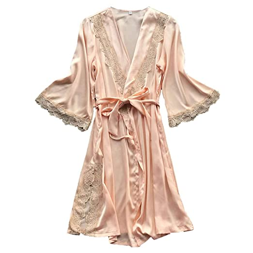 92cab60b5c49c AKwell Women s Long Satin Robe Bridal Kimono Lace Pajamas Sleepwear Robe  Lace Temptation Belt Underwear Nightdress