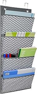 Hanging File Folder Organizer Wall Hanging Storage Pocket Chart Fabric Office Supplies for Home School Organization - Wave Pattern(4 Pockets)