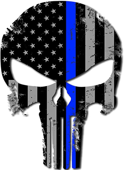 "4/"" in. Punisher Skull Police Vinyl Decal Sticker"