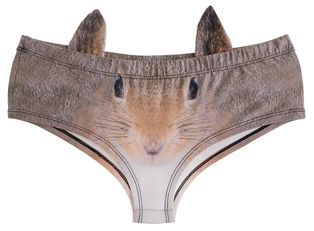 kukubird Women's Lingerie Squirrel Fun New Animal Face Panties With Little Ears AB2038