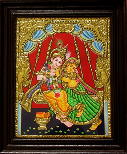 1.25' Flute (Chola Impressions Radha Krishna on swing Tanjore Painting 1.25 ft x 1 ft)