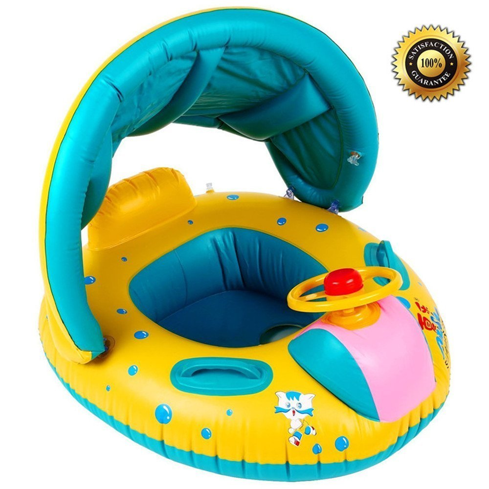 S.K.L Baby Infant Swimming Pool Float with Canopy, SKL Inflatable Swim Seat Float Boat Suitable for Age 6 - 36 Months Babies by S.K.L
