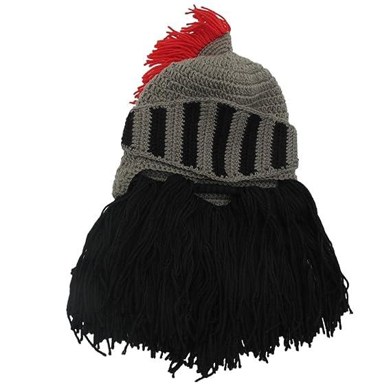 024a951dd86 ZGZY Beard Hat Beanie Knit Hat Barbarian Warrior Knight Hat Halloween Viking  Horns Bearded Caps Windproof