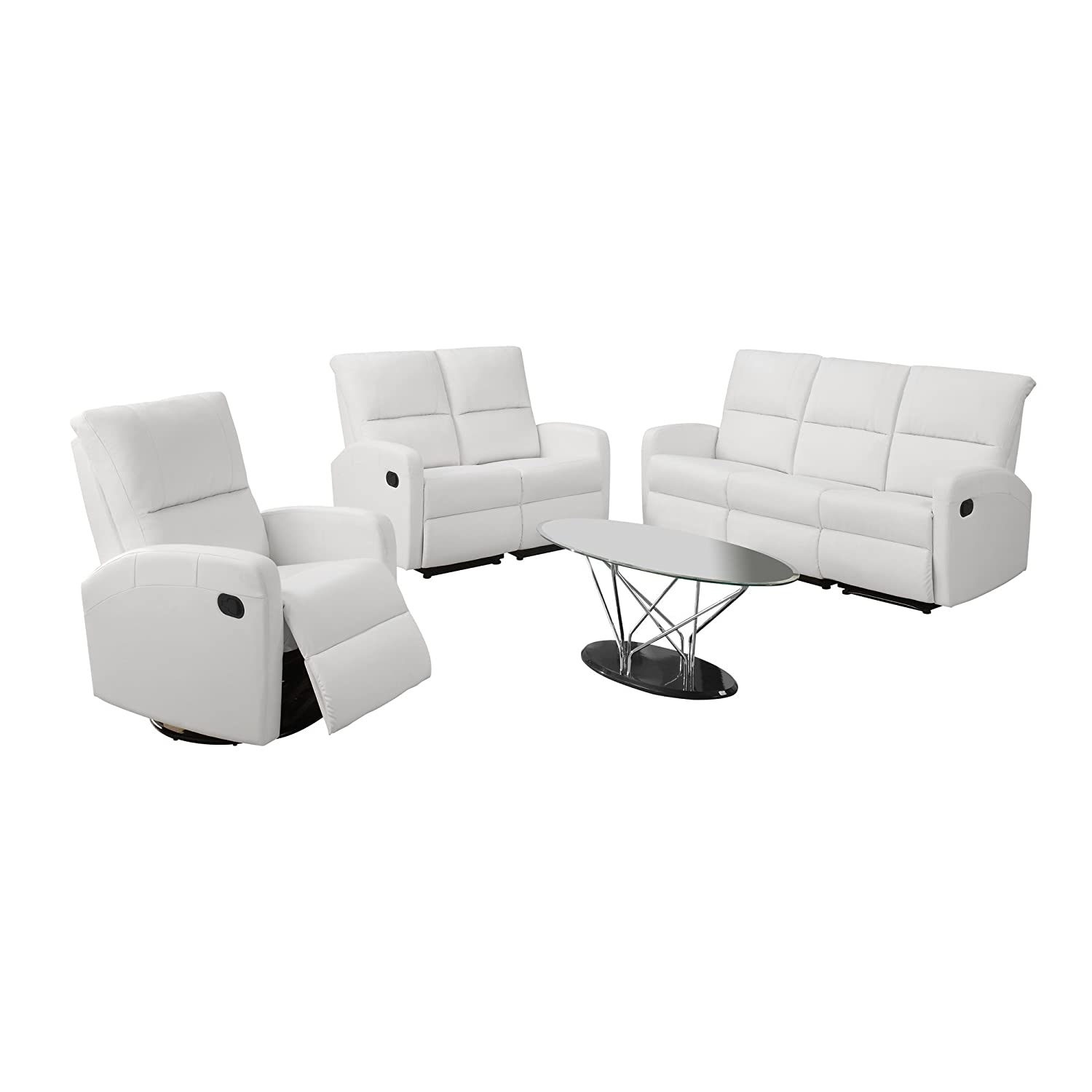 Amazon Monarch Specialties I 84WH 3 Reclining Sofa in White