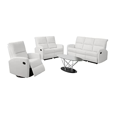 Monarch Specialties I 84BK-2 Reclining Loveseat in Black Bonded Leather