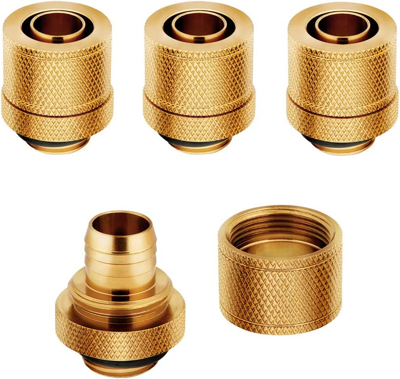 "Corsair Hydro X Series XF Compression 10/13mm (3/8"" / 1/2"") ID/OD Fittings, Gold, 4-Pack"