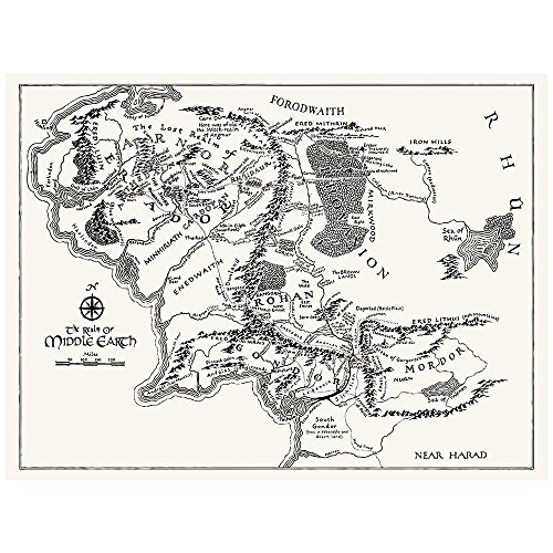 Inked and Screened SP_SYFI TW_24_K Sci-Fi and Fantasy Middle Earth Map Print, True White-Black Ink, 18