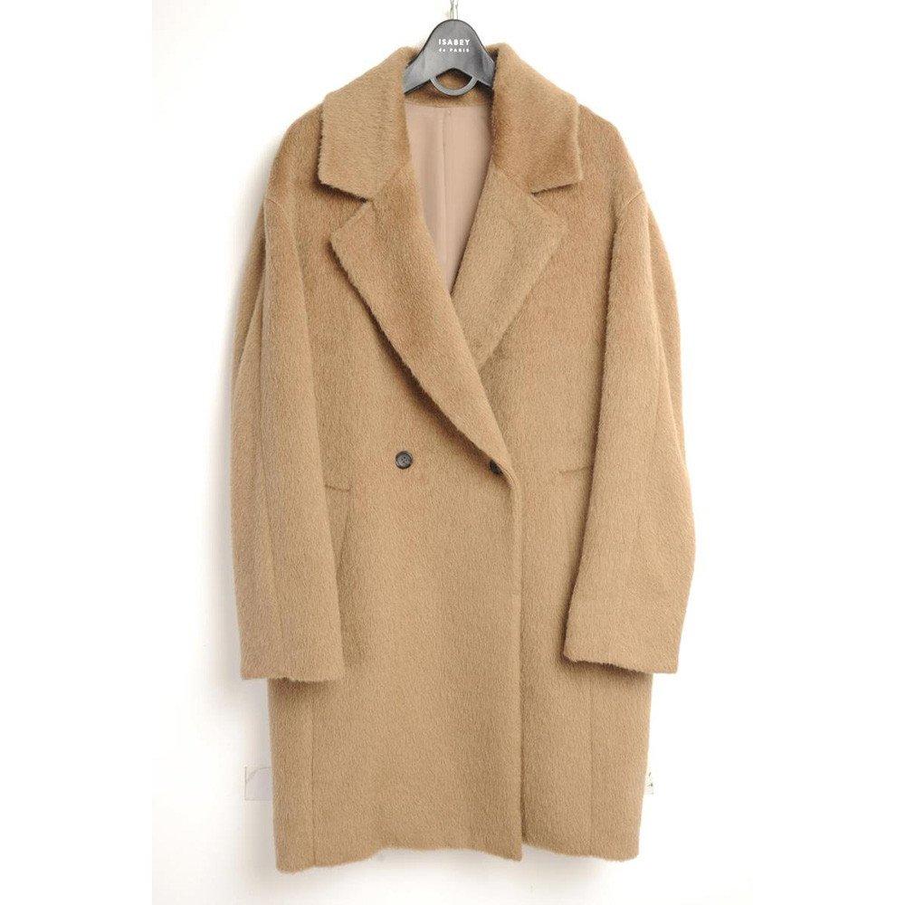 Pugaomsiw Simple Mode Stoff Mantel in Herbst und Winter.Das Single - Damen Anzug Kragen Wolle Mantel Wolle und Fell,M,Khaki