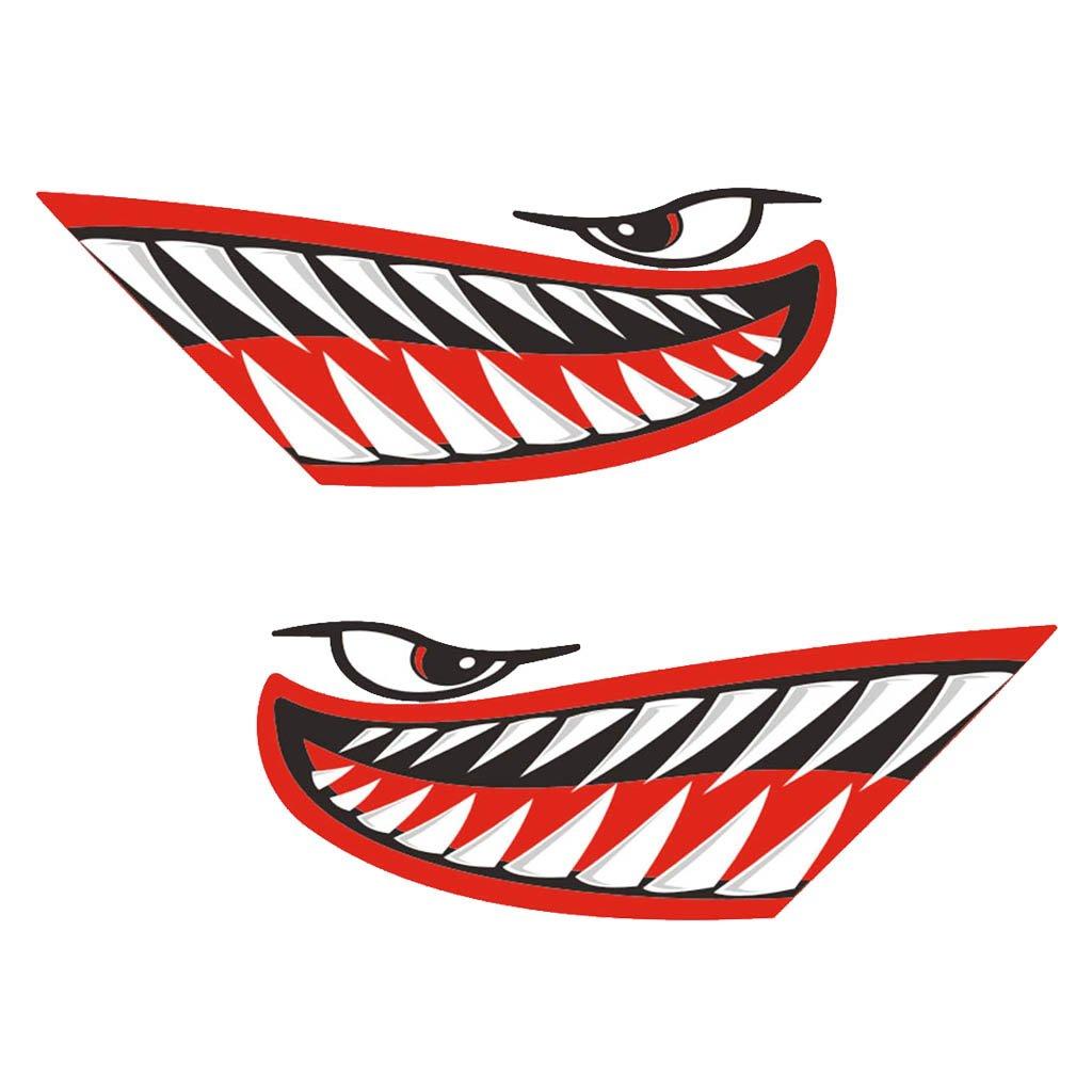 Kayak Canoa MagiDeal 4 Pezzi Vinile Stampa Bocca dei Denti dello Squalo Decalcomanie Adesivi per Barca da Pesca