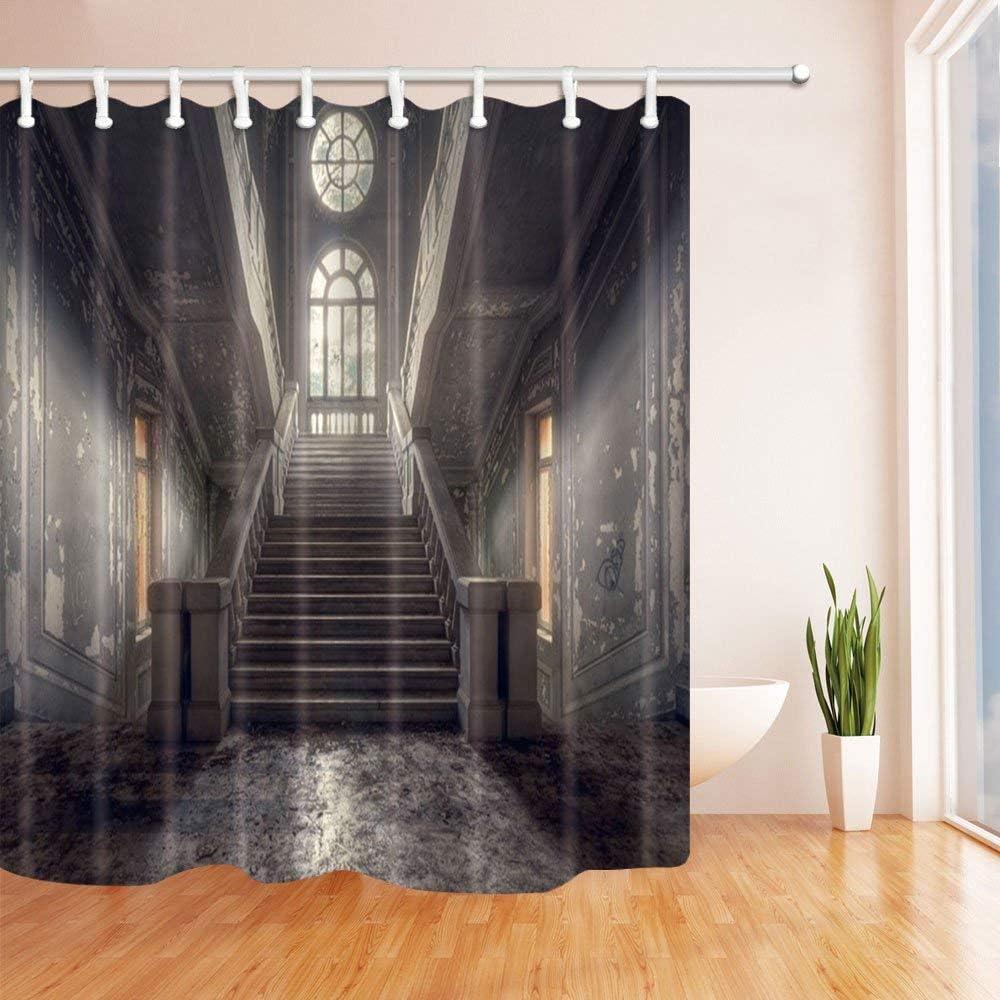 BuEnn Decoración de casa de Madera Escaleras en Castle in Vintage Moho Resistente Tela de poliéster Cortinas de Ducha para baño Ducha Cortina Ganchos Incluidos 71X71 en Gris: Amazon.es: Hogar
