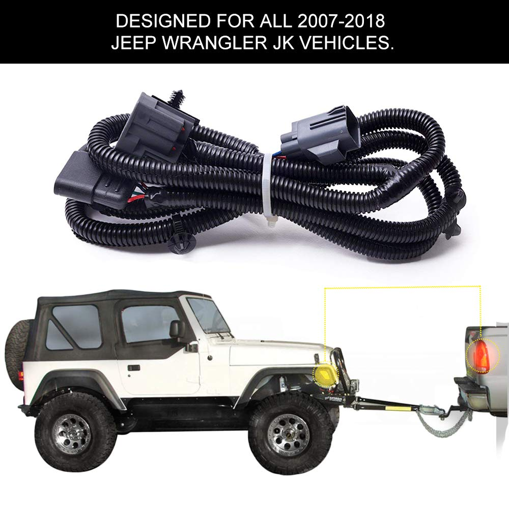 BougeRV Trailer Wiring Harness fits 2007-2018 Jeep Wrangler JK 2/4 Door,  Tow Hitch Wiring Harness Accessories ...