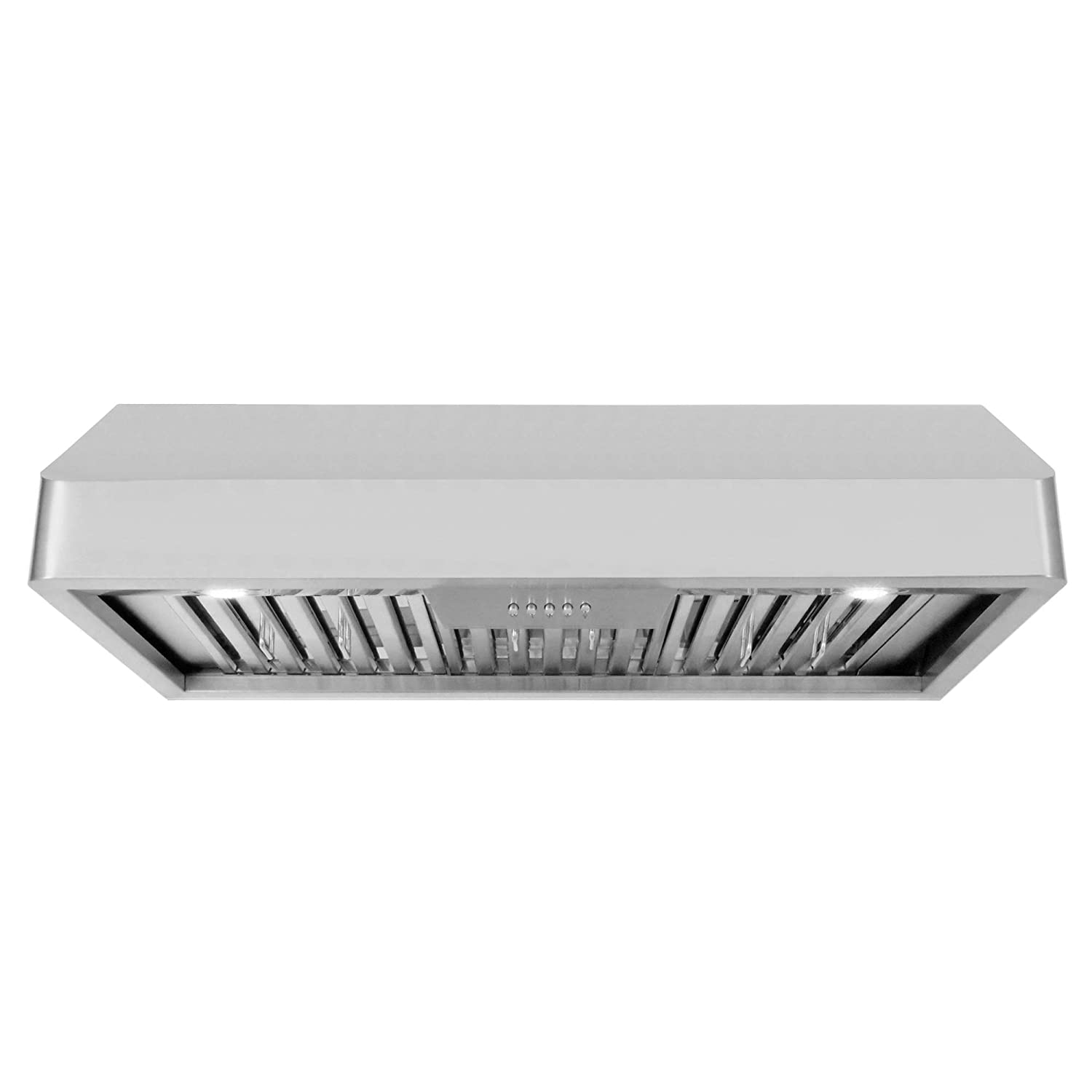 Cosmo QB90 36-in Under-Cabinet Range Hood 900-CFM Ductless Convertible Duct, Kitchen Stove Vent with LED Light, 3 Speed Exhaust Fan, Dishwasher-Safe Permanent Filter (Stainless-Steel)