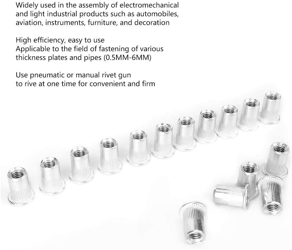 100PCS Tuerca de remache Tuercas de remache roscadas de metal Accesorios para herramientas de reparaci/ón para rango de tuber/ía de chapa de 0.5MM-6MM