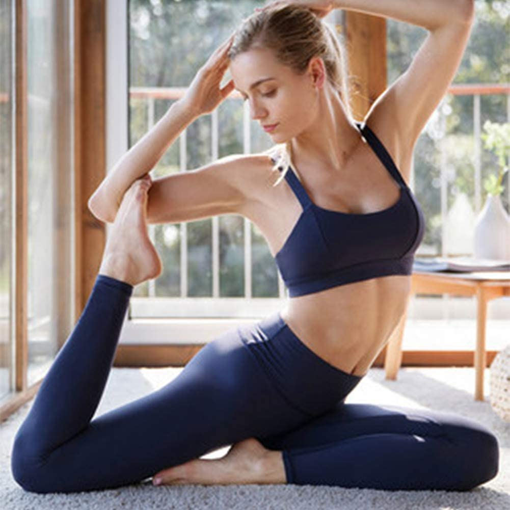 Soutien-Gorge de Sport Confortable, tel Que Bague en Acier, Respirant, mèche, bandoulière de Fitness Ajustable, Soutien-Gorge de Yoga Pilates pour Femme Darkblue