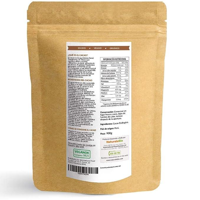 Cacao crudo Ecológico en Polvo 900g | Organic Raw Cacao Powder | 100% Bio, Natural y Puro | Producido en Perú a partir de la planta Theobroma Cacao | Rico ...
