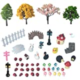 50 PCS Fairy Miniature Ornament DIY Kit and 4 PCS Artificial Succulent Plants for Garden Dollhouse Decoration