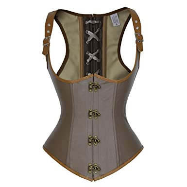 f52b8c0e8a6 Charmian Women s Vintage Steampunk PU Leather Steel Boned Plus Size  Underbust Corset Vest Brown Small