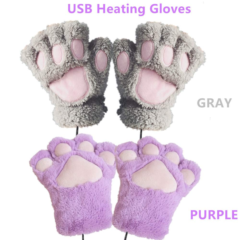 2 Pair DECVO Winter Powered Warmer Thicken Paw Fingerless USB Heated Gloves Plush Cold-Proof Knitted Half Finger Laptop Mittens USB Warm Paw Gloves for Women Teen Girls Best Winter Gift (Gray+Purple)