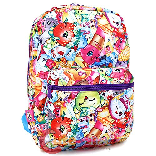 Price comparison product image 16 Inches Shopkins Allover Print Kooky,  Chocolate,  Donut & Lippy Lips Backpack