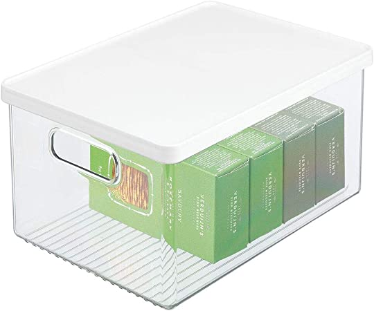 mDesign Caja organizadora de plástico para nevera – Recipiente para guardar alimentos con tapa y asas – Organizador para nevera, cocina y despensa apto para alimentos – transparente/blanco: Amazon.es: Hogar